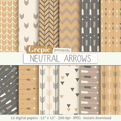 "Arrows digital paper: ""NEUTRAL ARROWS"" backgrounds with arrow patterns, tribal archery, triangles backgrounds in brown, grey, beige colors"