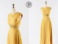 1960s dress xs / 60s golden chiffon dress  Artemis by TheParaders, $284.00