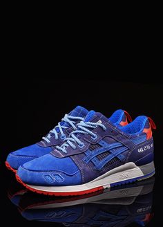 Asics has really made with exclusive colorways and re-releases over the past few years, and these are among the best. Tonal blues and red highlights are bold and sporty, but still classic and wearable, which is what you want. Gel-Lyte III MITA 25th Anniversary Sneaker by Asics, oneness287.com   - Esquire.com