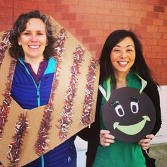 DIY Girl Scout cookie booth costumes - Samoa (Carmel de lite) and Thin Mint. Made from nothing but cardboard, paper, paint.