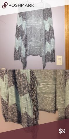 Cardigan Light blue and grey chevron print cardigan cover up with fringe like black and white pieces coming down in the front (picture 2) Long sleeve and perfect for a fall day! Size medium from Vanity. Vanity Tops Tunics