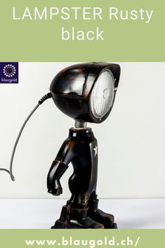 Color=Black Description  The LED lamp LAMPSTER is a mix of action figure and vintage headlights Made entirely from recycled materials and built by hand! Switch on / off by touch or touch sensor on the head Adjustment of brightness and color using a smartphone 360 ° rotating head and adjustable angle Solid and built to last; rustproof and resistant to water splashes. #lamps #lighting #interiordesign