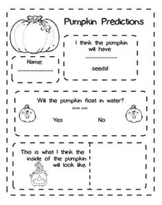 First Grade Blue Skies: Pumpkin Prediction Freebie