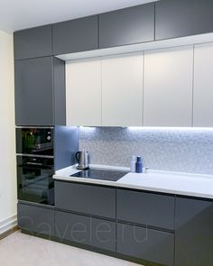 Grey Kitchen Designs, Luxury Kitchen Design, Kitchen Room Design, Kitchen Cabinet Design, Home Decor Kitchen, Interior Design Kitchen, Glossy Kitchen, Kitchen Modular, Small Apartment Kitchen