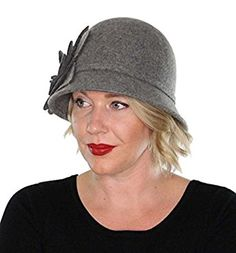 Ella Wool Bucket Hat with Flower Vintage Cloche Flapper Tea Party Derby Church (Gray) at Amazon Women's Clothing store: