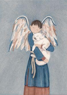American Eskimo Dog with boy Angel / Lynch signed folk art print Samoyed Spitz | eBay