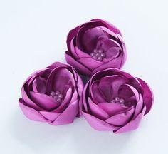 3 pcs satin magnolia flower appliques - fabric flower - purple color