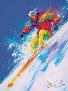 Ski Slope by Malcolm Farley Ski Decor, Colorful Paintings, Sports Art, Watercolor Cards, Art Techniques, American Artists, Art Google, Les Oeuvres, Home Art