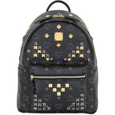 MCM Small Stark Studded Backpack ($795) ❤ liked on Polyvore featuring bags, backpacks, leather backpack, backpack laptop bag, studded backpack, laptop bag and leather bags