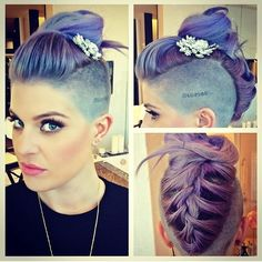 Kelly Osbourne hair and the most beautiful female singers. Purple, mermaid, gray, like ash pink hair using many different colors. I chose all his hair color. Kelly Osbourne, Mohawk Hairstyles, Wedding Hairstyles, Wedding Updo, Holiday Hairstyles, Celebrity Hairstyles, Cabelo Pin Up, Mohawk Braid, Long Mohawk