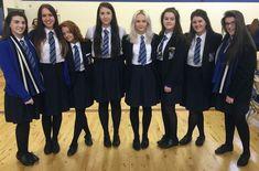 Girls Dressed In Formal School Uniforms School Uniform Outfits, Cute School Uniforms, Girls Uniforms, Geek Chic Outfits, Girl Outfits, Catholic School Girl, School Girl Dress, Petite Women, Black Tights