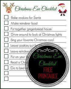 Christmas Eve Checklist (Free Printable) - The Naughty Mommy. Make ...