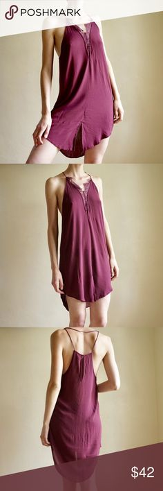 5dcc65fefa Free People slip dress Wine 🍷 colored rayon slip dress from Free People.  Lace details