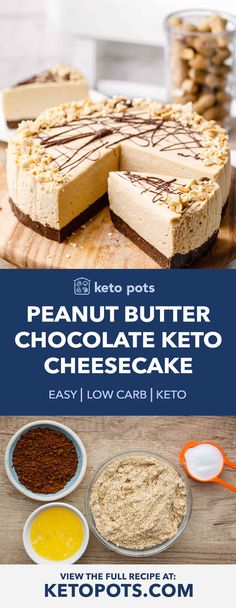 cheesecake chocolate peanut butter bake keto pots and no No Bake Peanut Butter and Chocolate Keto Cheesecake Keto Pots No Bake Peanut Butter and ChocolateYou can find Keto dessert and more on our website Low Carb Peanut Butter, Peanut Butter Cheesecake, Low Carb Cheesecake, Cheesecake Recipes, Dessert Recipes, Cheesecake Cookies, Cheesecake Bites, Chocolate Cheesecake, Dinner Recipes