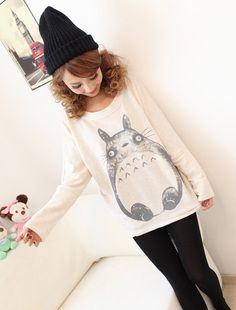 Fall in love with the princess fall and winter new Korean version of the bat sleeve cute Totoro the thickened loose sweater [WY0031] - Taobao