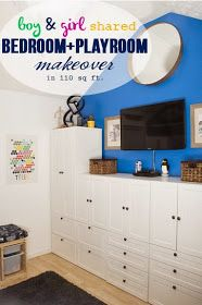 Kids room remade - boy and girl shared bedroom / playroom makeover (small space)