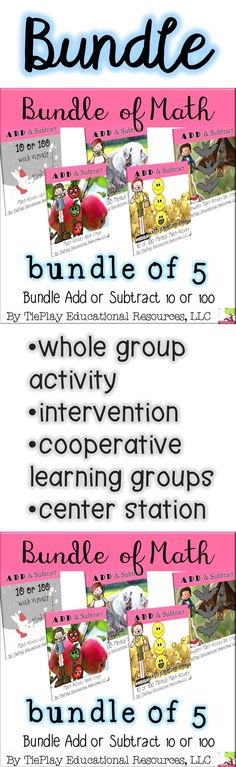 Bundle of 5! Add or subtract 10 or 100 math learning activities in black and white print assists primary learners in practicing mental math and 10 or 100 math questions. Great for groups of 5 on a cooperative learning day. These 5 math activities can be used as a class game, in cooperative groups, as a math center station, as an intervention, for extra credit and for early finishers. Learning Activities, Teaching Resources, Cooperative Learning Groups, Class Games, Math Games, Primary Maths, Primary School, Math Questions, Differentiated Instruction