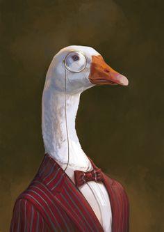 : Fancy aristocrat goose with monocle illustration artwork by Ignasi Monreal. Animal Paintings, Animal Drawings, Art Drawings, Arte Peculiar, Animal Heads, Weird Art, Surreal Art, Aesthetic Art, Pet Portraits