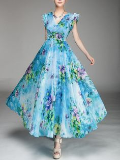 Blue Printed Shaping Chiffon V-Neck Women's Maxi Dress Chiffon Dress Long, Maxi Dress With Sleeves, Dress Up, Lace Chiffon, Gown Dress, Frock For Women, Frocks For Girls, One Piece Dress, Prom Dresses