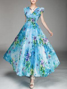 Summer chiffon long dress lady women clothing gown dress by handok, $87.00
