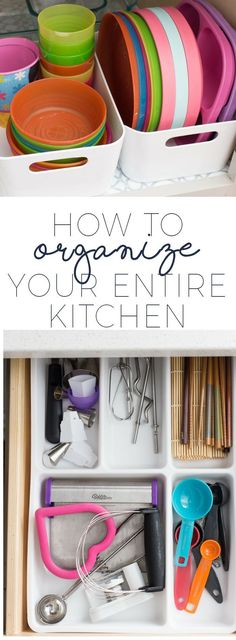 How to organize your entire kitchen! Ideas for organizing every single cabinet and drawer once and for all. #kitchenorganization #smallkitchen #organizedkitchen