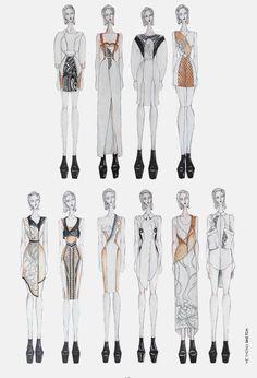 Fashion Sketchbook - fashion illustrations, lineup, fashion drawings, fashion portfolio // Van Anh Illustration Mode, Fashion Illustration Sketches, Fashion Sketches, Fashion Drawings, Drawing Sketches, Fashion Line, Fashion Art, Fashion Design Sketchbook, Fashion Figures