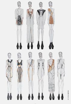 Fashion Sketchbook - fashion illustrations, lineup, fashion drawings, fashion portfolio // Van Anh