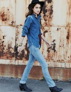 denim on denim. Download the#FashEngage iPhone App in the iTunes App Store!