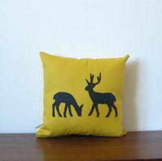 Yellow Pillow Deer Pillow Woodland Mens Home Decor by opticdesign, $38.00