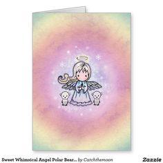 Sweet Whimsical Angel Polar Bears Christmas Card