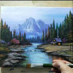 Canvas Painting Tutorials, Diy Canvas Art, Acrylic Tutorials, Landscape Art, Landscape Paintings, Watercolor Art, Simple Watercolor, Watercolor Landscape, Art Painting Gallery