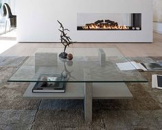 Mesa de Centro Moderna Zen   Material: Madera de Roble   Mueble realizado en y Cristal Templado... Desde Eur:1131 / $1504.23