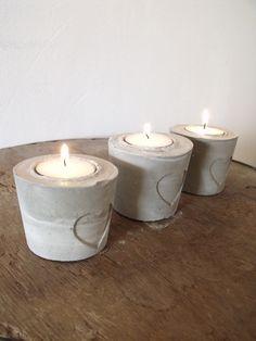 Kaarsenhouder - Cement love the heart impressions