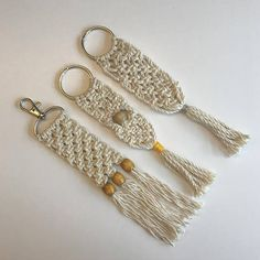 These macramé keychains are handmade of natural cotton cord. The must have accessory for your keys. Alternatively you can also use it as a zipper charm or a bag pendant. Available in 3 different options. Please choose A, B or C as indicated in the 1st photo. Length: approx 7.5