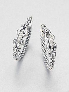 Lagos - Diamond Sterling Silver Buckle Hoop Earrings