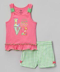 Look at this #zulilyfind! Pink & Mint 'Love' Tank & Shorts - Infant, Toddler & Girls #zulilyfinds