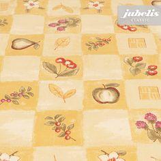 Abwaschbare Tischdecke jubelis® für die Küche mit traditionellem Karomuster, Äpfeln und Früchten Design Gerda gelb