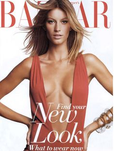 Gisele Bündchen by Patrick Demarchelier for Harper's Bazaar February 2002 Gisele Bundchen, Claudia Schiffer, Heidi Klum, Fashion Magazine Cover, Fashion Cover, Magazine Covers, Natalia Vodianova, Revista Bazaar, Vanity Fair