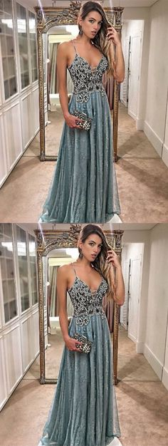 A-Line Spaghetti Straps Floor-Length Prom Dress with Beading #prom #promdress #dress #eveningdress #evening #fashion #love #shopping #art #dress #women #mermaid #SEXY #SexyGirl #PromDresses