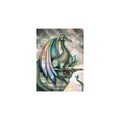 Fairy Dragon Fantasy Art Print by Molly Harrison 'Protector' found on Polyvore