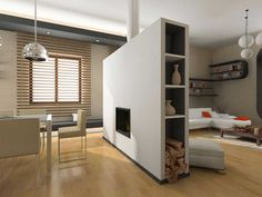 Stunning Modern Room Divider Design Inspiration in Beige with Shelves and Spark Fires Idea