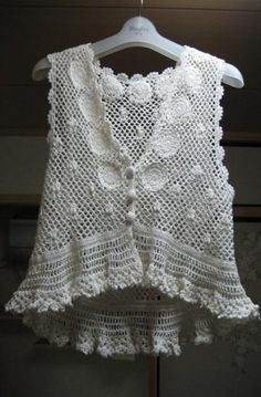 White Hand Crochet Vest This was made in Shanghai. Some poor woman was probably… Crochet Circle Vest, Crochet Vest Pattern, Crochet Circles, Love Crochet, Hand Crochet, Crochet Lace, Crochet Patterns, Gilet Crochet, Freeform Crochet