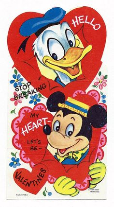 Vintage Valentine With Donald Duck & Mickey Mouse, Walt Disney Productions, Made In USA My Funny Valentine, Disney Valentines, Vintage Valentine Cards, Valentines Day Hearts, Vintage Greeting Cards, Valentine Day Cards, Vintage Postcards, Valentines Illustration, Disney Cards