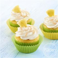 Think warm, beachy, thoughts with these Tropical Pineapple Cupcakes from Pillsbury® Baking!