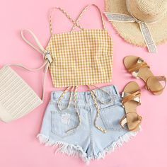 Shop Criss Cross Back Checked Cami Top at ROMWE, discover more fashion styles online. Teenage Outfits, Girly Outfits, Outfits For Teens, Pretty Outfits, Girls Fashion Clothes, Teen Fashion Outfits, Ootd Fashion, Cute Summer Outfits, Cute Casual Outfits