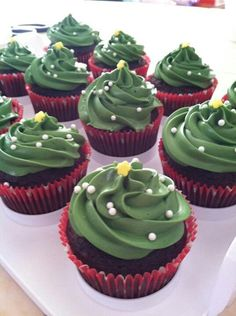 "Extremely simple but cute Christmas cupcake! My ""dish to pass"" at family functions this year? I think so!"