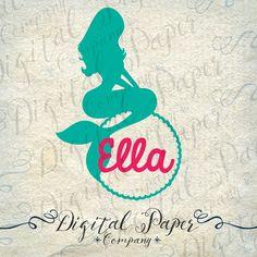 Little Mermaid Monogram Frame SVG DXF Vinyl by DigitalPaperCompany