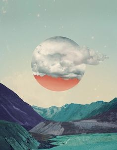 The creative universe of artist Monika Traikov intrigue so much it is elusive. Her posters follow one unifying structure, depicting surreal colored nature landscapes, where geometric and vibrant shapes gravitate around pearly clouds, creating a spiritual and extraordinary dimension.