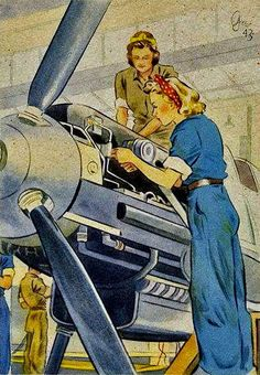 """""""Women Working For You"""" ~ WWII era postcard of women working in a munition plant to help the war effort, 1943."""