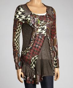 Look at this Romance Red Patchwork Long-Sleeve Top on #zulily today!